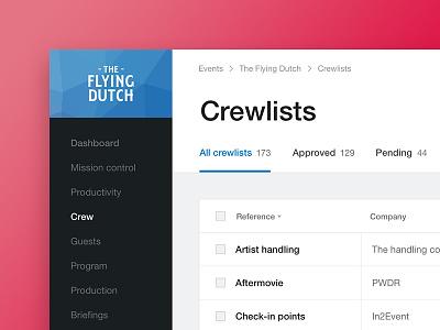 In2Event Table Crewlists list admin visualisation hub data product table navigation application app web dashboard
