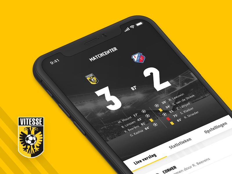 Vitesse Soccer App scoreboard ui sport voetbal vitesse iphonex footbal soccer app ios interface