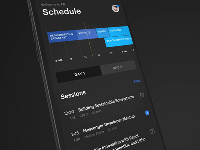 F8 - Facebook Developer Conference app interface motion after affects timeline mobile sessions agenda schedule itinerary animation ios app conference f8 facebook