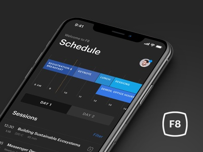F8 - Facebook Developer Conference app ios timeline sessions schedule itinerary mobile interface clean iphone app facebook f8
