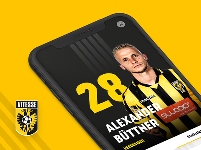 Vitesse Soccer App - Player Profile player profile profile player card player ui player voetbal sports clean interface iphone mockup iphonex ux ui soccer vitesse mobile app ios