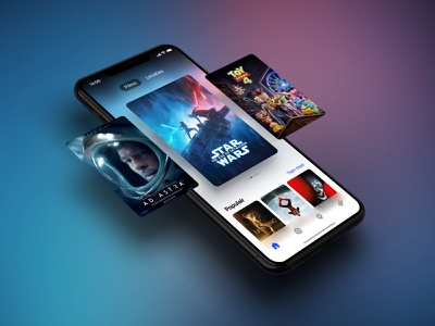 Movie app exploration product design slider starwars iphone x movies gradient carousel movie poster movie cinema star wars mobile interface app ios