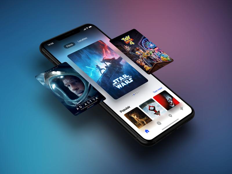 Movie app exploration product design slider starwars iphone x movies gradient carousel movie poster movie cinema star wars mobile interface app ios