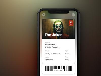 Movie app - Ticket autumn iphonex joker the joker product design movie barcode ticket clean ios interface cinema app