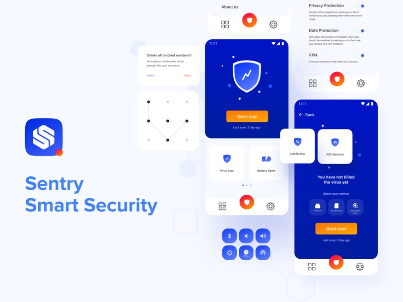 Sentry Smart Security Android App white ui creative figma vector antivirus scan sentry smart blue abdroid mobile ui app design mobile app security