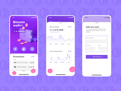CryptoWhale | Bitcoin wallet pattern fiolet clear illustration cinema4d c4d 3d ux mobile crypto bitcoin future app creative vector figma design