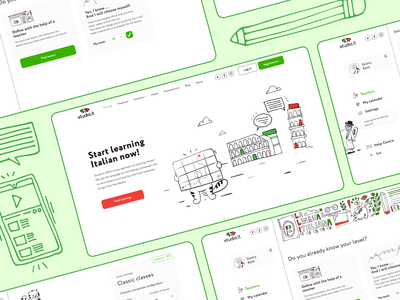 Studia.it | Italian Language online school italian online school wireframing ux  ui ux designs graphics illustration white ui figma creative vector design