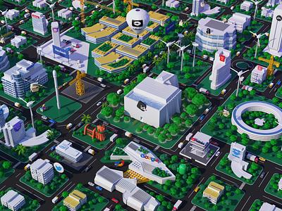 Interactive Design city facebook airbnb tesla adobe youtube intel dropbox android oracle twitter google apple cinema4d 3d white smart future design illustration logo