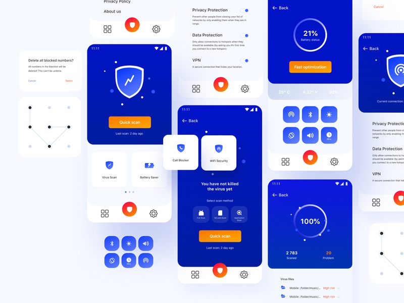 Sentry Smart Security | Detail hield ui design uidesign security android card sentury antivirus smart ui  ux creative sketch blue mobile app white ui vector figma design