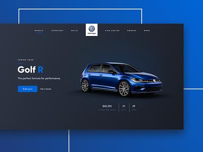 VW Golf R design dark ui blue vw car landing page ui website automobile golf r volkswagen