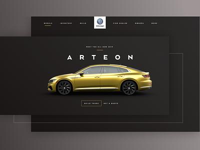 VW Arteon car landing page design ui website header arteon volkswagen vw