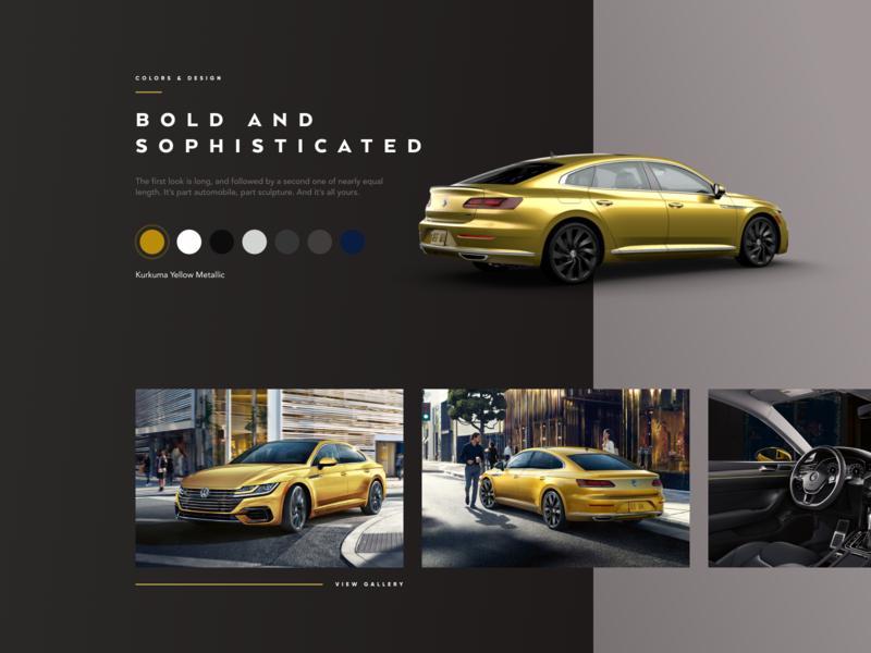 VW Arteon Gallery landing page gallery yellow car website design ui volkswagen vw