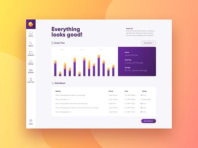 Pure Dashboard chart dashboard typography web app ui design