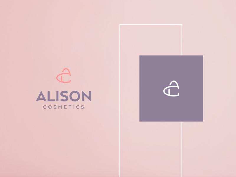 Alison Cosmetics Logo heart monogram cosmetics logo icon vector branding graphic design
