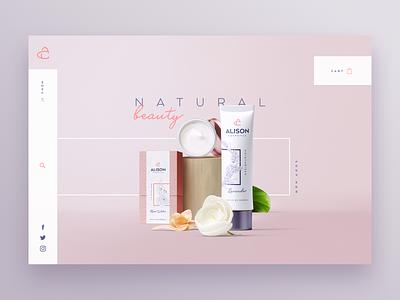 Alison Cosmetics Website Header cosmetics landing page typography website graphic ui design