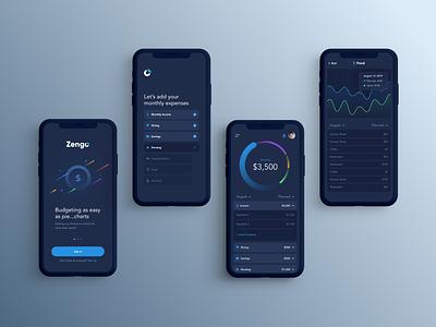 Zengo Mobile App graph chart budget phone mobile app ux ui design