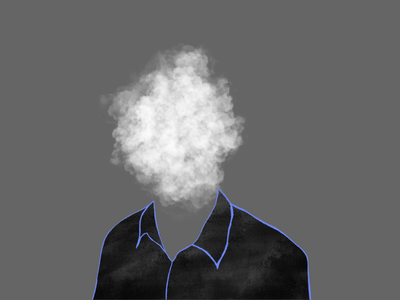 Head in the clouds gray illustration monochrome outline photography texture cloud portrait blue black and white procreate