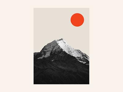 Summit monotone landscape illustration minimalism minimalist minimal climb summit graphic color warm orange red black and white sunset sunrise sun composition mountain
