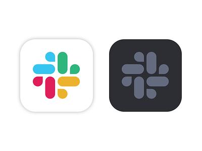 Slack for Mac icons: light & dark graphic minimalist black dark slack branding logo illustration mac app icon