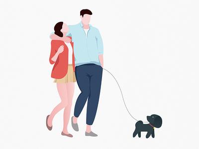 My girlfriend and I walk the dog