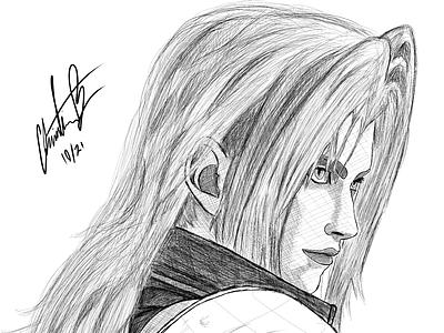 Sephiroth (Final Fantasy) Digital Ink cloud final fantasy fantasy final sephiroth game ink illustration drawn design