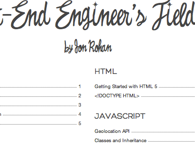 A Front-End Engineer's Field Guide html javascript field blog guide