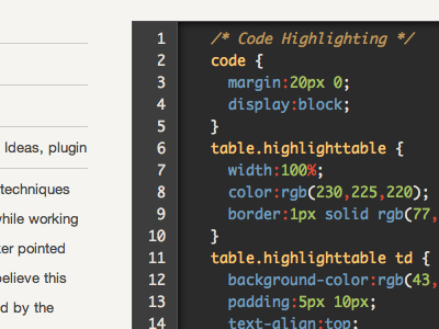 Code Block code css syntax