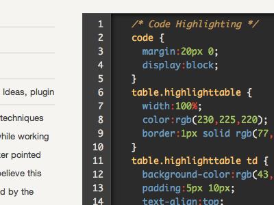 Code Block code css syntax