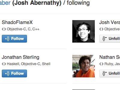 Following listing following follow unfollow github