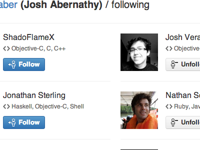 Following listing following follow unfollow github