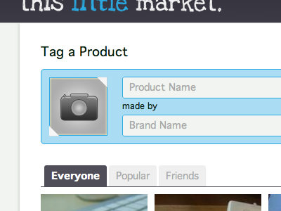 Tag a Product form blue photo upload product brand