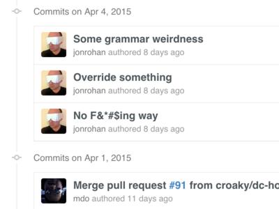 Commits listing