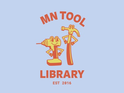 MN Tool Library wip vintage tool retro mn minnesota logo character cartoon branding badge 30s 1930s