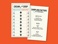 Cream of the Crop receipt menu dessert midcentury retro diner card rating cream of the crop tasting sampling ice cream