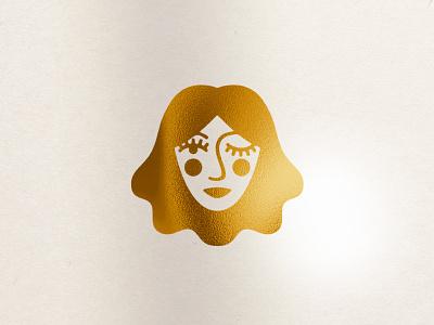 Cache Mark cache mark branding face foil gold vodka beauty hair lips blush logo head woman wink lady
