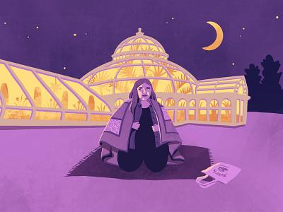 Nighttime Picnic 🌙 procreate terrarium architecture dome greenhouse night minnesota st paul park como conservatory picnic