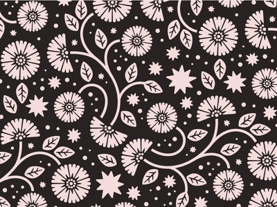 Floral Pattern brand branding black and white chinoiserie astrology stars butterflies greenery leaves botanical pattern repeat floral