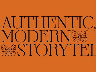 Authentic, Modern Storytelling storytelling authentic modern butterfly moths wings type symbols butterflies sprat kerning serif font typography