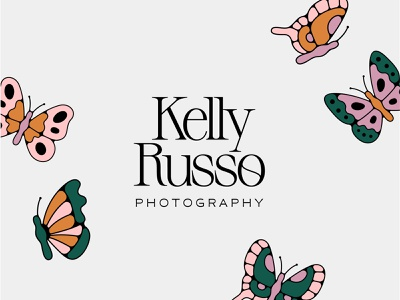 Kelly Russo 1 serif typography modern monoline illustration moths butterflies photography photo branding photographer