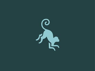 Monkeyjump 1 branding chimpanzee chimp primate tail curl swirl mark logo animal leap jump monkey