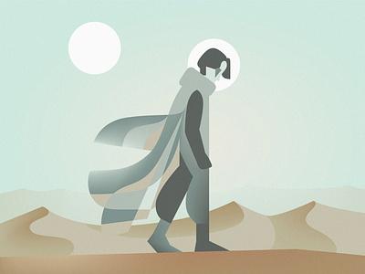 Dune 2021 figure walking paul fanart science fiction scifi desert poster movies film timothee chalamet illustration geometric dune