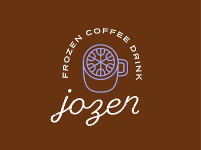 Jozen cappuccino latte beverage drink snowflake snow mug cup script monoline lettering typography logo frappe frozen coffee