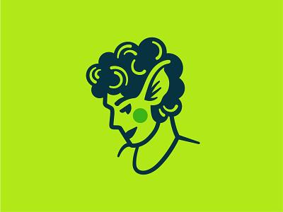Lela hair lipstick blush genderfluid girl illustration ears elf gremlin bust head woman person logo portrait