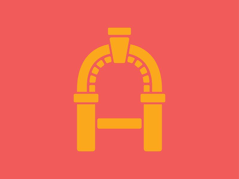 Archway A branding sketch door window archway logo a