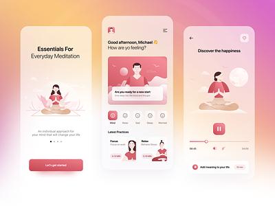 Meditation App illustration home layout light application meditation app design app yoga meditation