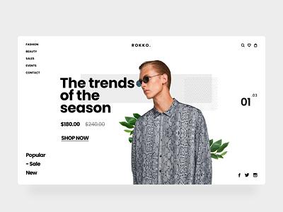 rokko trend season fashion ui concept light nature typography home web layout design collection art