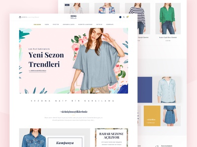 Monadellaa store fashion commerce shopping shop page collection nature light home layout web design