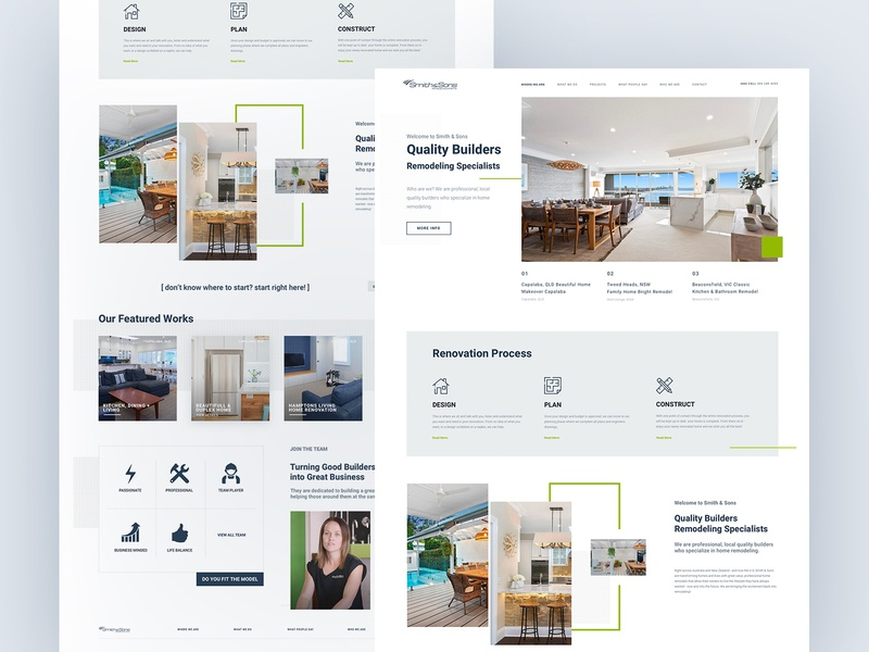 Smith Sons Builders architechture builders builder ux concept page interface art collection typography nature light ui home layout web design
