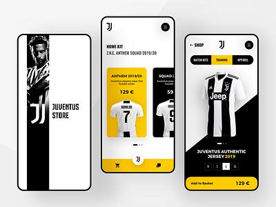 Juventus Store App football basket kit sport italy juventus juve store shop art light ui home layout