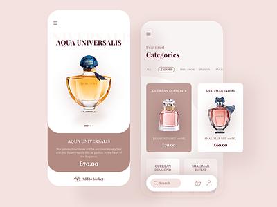 Perfume shop app concept nature collection light ui home layout design shopping app app shop perfume